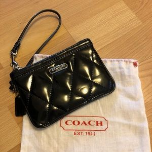 Coach Patent Leather Quilted Wristlet
